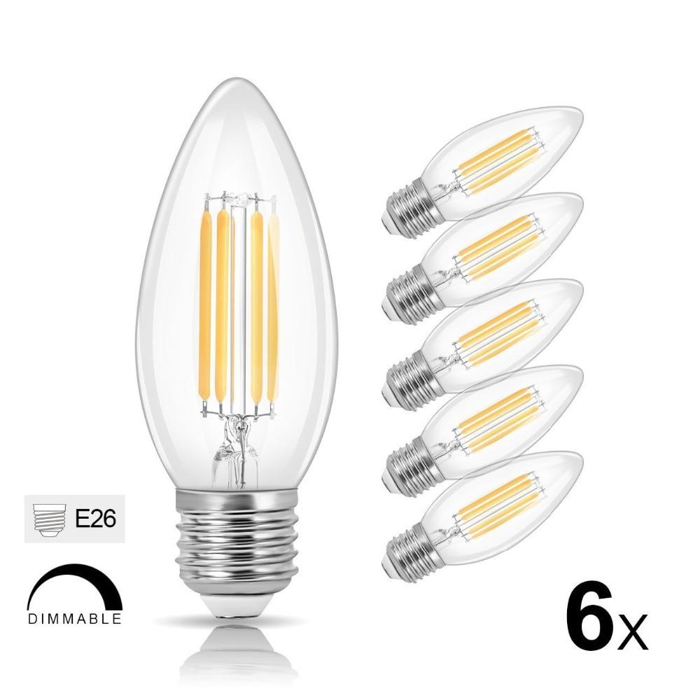 Bulbrite 40w Equivalent Warm White Light B11 Dimmable Led: B11 LED Filament Bulb Dimmable 40W Equivalent 2700K Warm