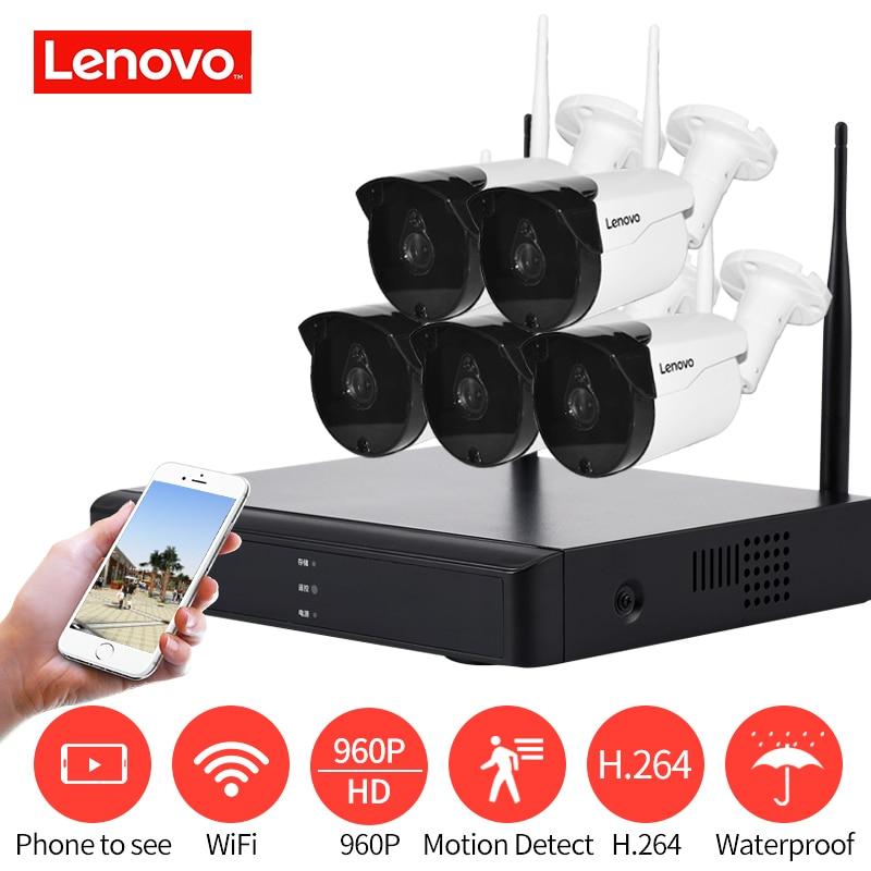 Lenovo 5ch массив HD Беспроводной безопасности Камера Системы DVR Kit 960 P Wi-Fi Камера Открытый HD NVR ночное видение наблюдения Камера
