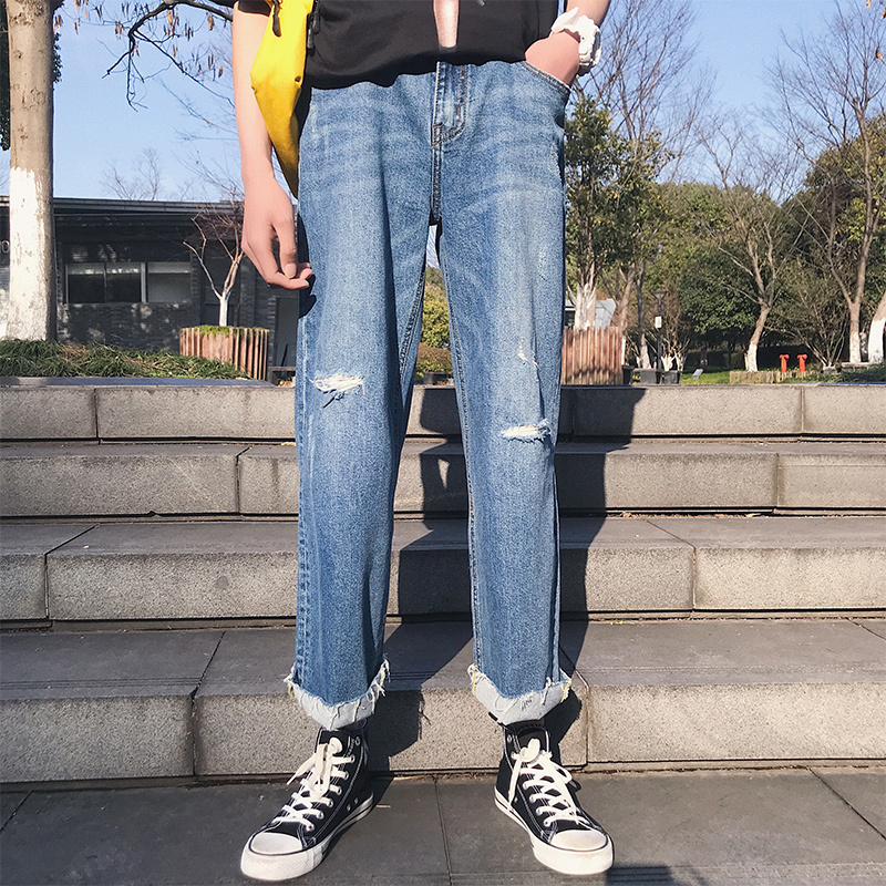 2018 Korean Spring New Mens Fashion Tide Washed Cowboy Holes Wide Leg Pants Blue Color Loose Baggy Casual Denim Trousers M-2XL