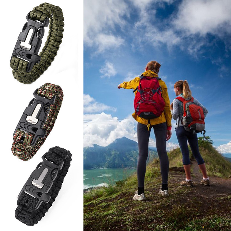 Multi-functional Camping Hiking Climbing Paracord Bracelet Outdoor Survival Gear Whistle Lifesaving Braided Rope Tactical Wrist oumily outdoor survival paracord bracelet w flint fire scraper whistle black 4m