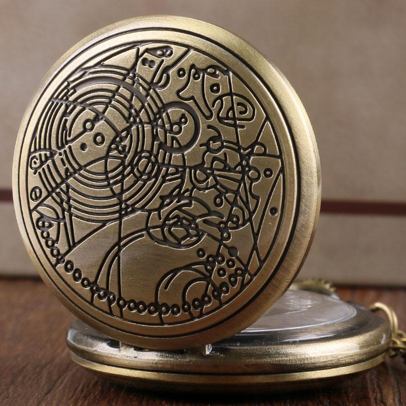 Doctor Who Theme Necklace Pocket Watch Classic Black/Silver Bronze Quartz Pendant Clock Gifts Men Women Kids Reloj De Bolsillo