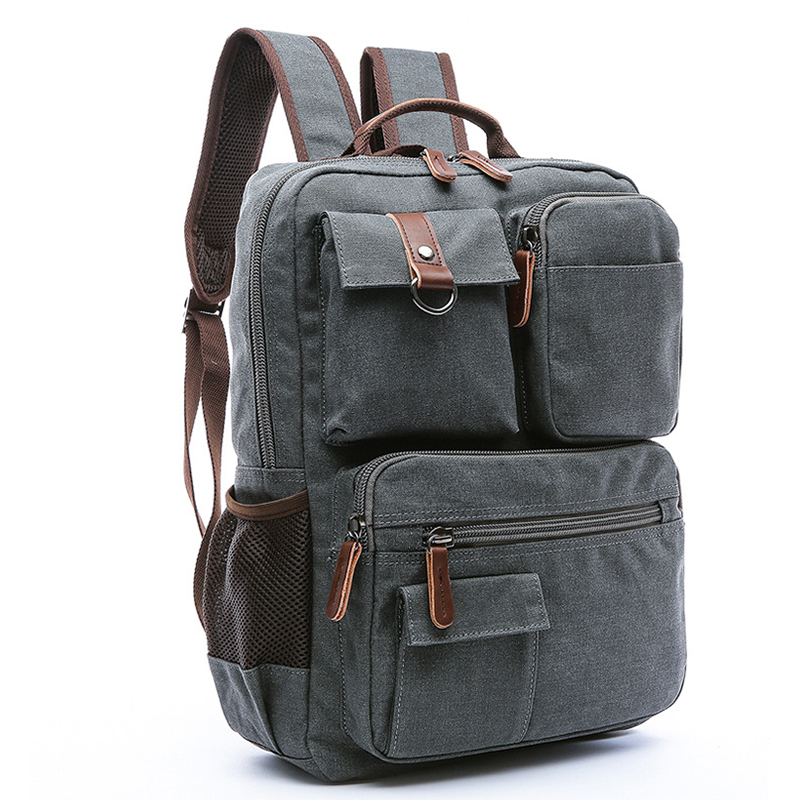 Школьный рюкзак Винтаж холст ноутбук рюкзаки Для мужчин Для женщин рюкзак Bookbags (темно-серый)