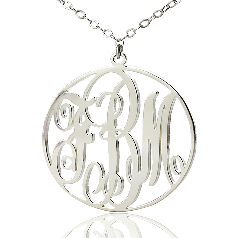 AILIN Freeshipping-Monogram Sterling silver Circle Necklace with Name Pendant Silver Plated Personalized 3 Initial Necklace stylish ladies pendant silver plated necklace