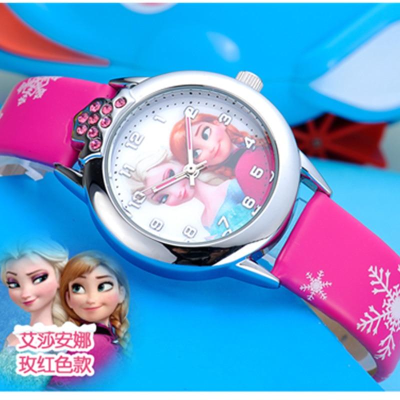 Relojes New Fashion Cartoon Children Watch Kids Cute Princess Elsa Anna Watches Leather Quartz Wristwatches Girl Gift Relogio