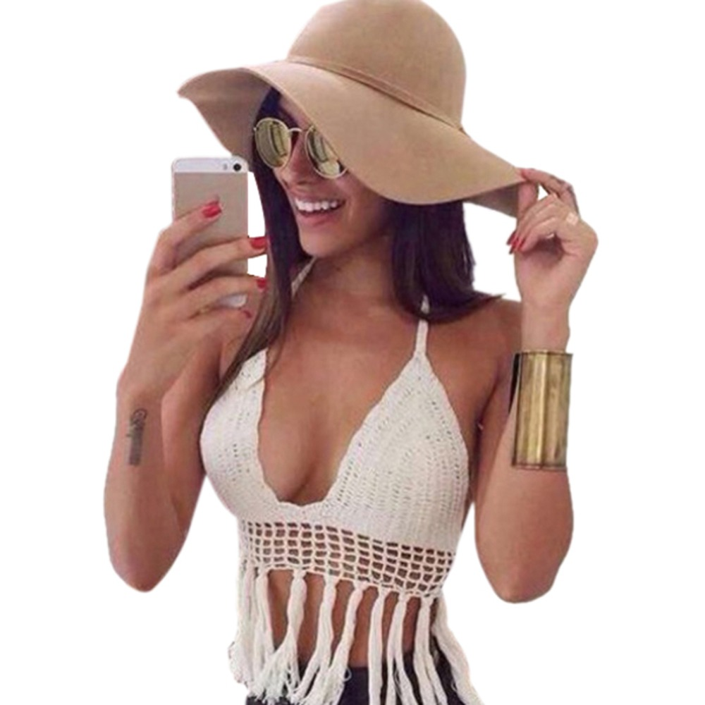 Women Sexy Soild Color Deep V-neck Crochet Knit Crop Top Halter Bra Bralette Summer Blouse Chic Attractive Street Wears