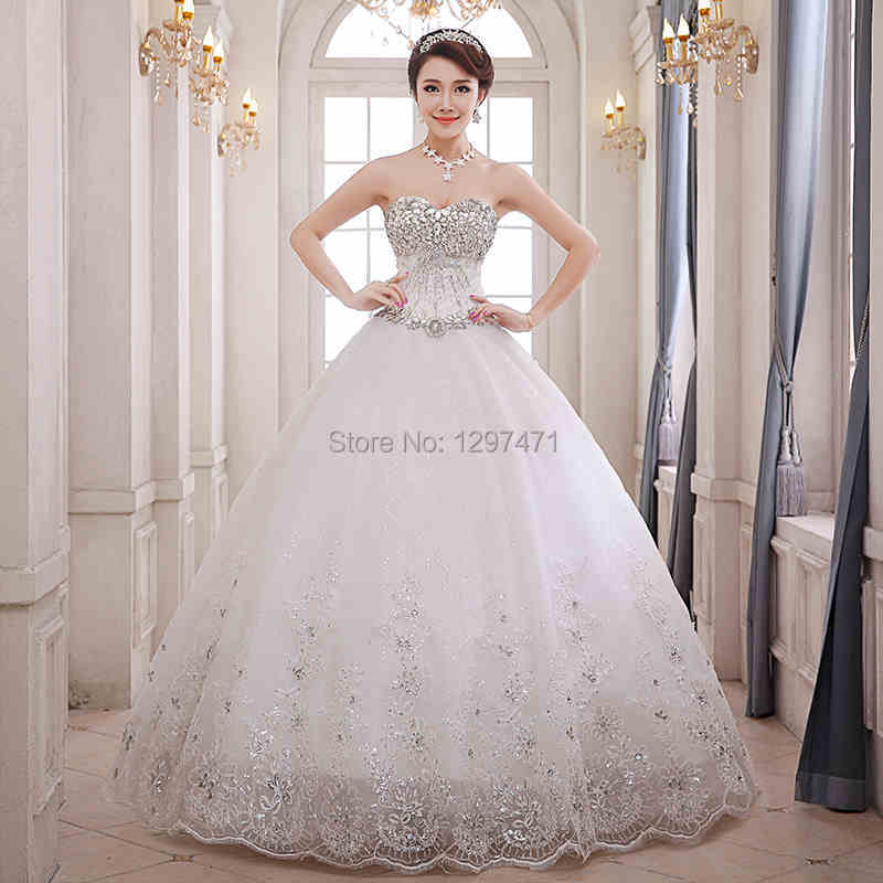 Bride Gowns 2015: 2015 New Fashion Ball Gown White/Ivory Lace Up Sparkling