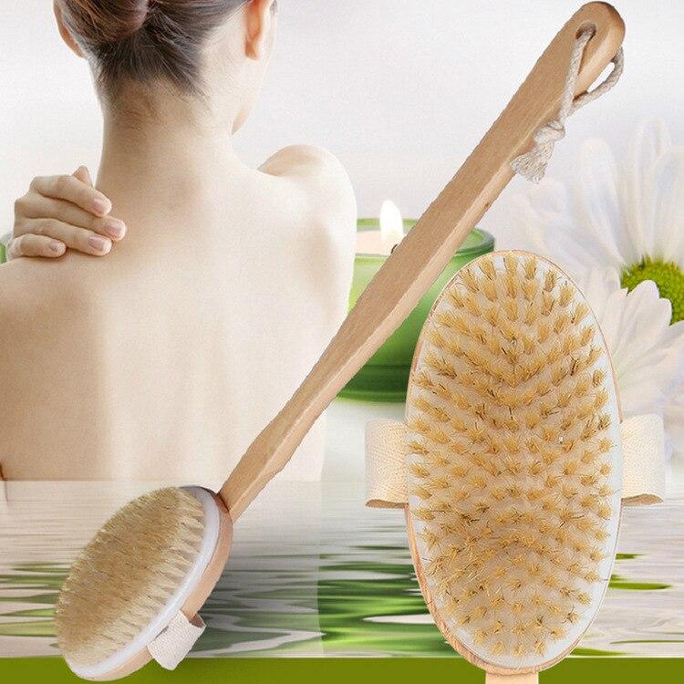 Wooden Bristle Bath Brush Long Handle Reach Back Body Shower Bristle SPA Scrubber Bathroom 42*7.5cm Massage Rubbing Back Brush