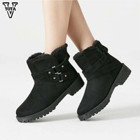 VTOTA Fashion Women Boots 2018 Rivet Ankle boots Winter Female Flats Shoes Buckle Solid Booties Woman Winter Boots Plus Size 43