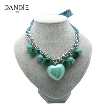 Dandie Trendy Handmade Ribbon Chain Necklace With Acrylic Bead, Pompon And Heart Design, Popular Hot Sale Jewelry For Women
