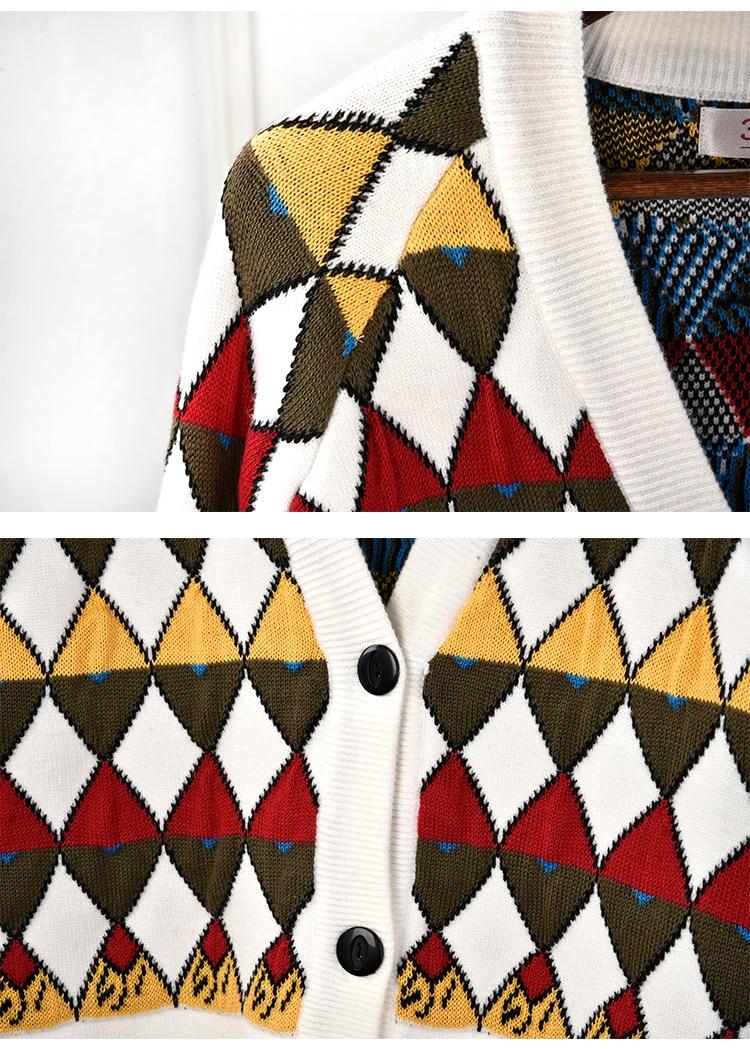 Marque de luxe chandail tricoté pour les femmes Vintage col en V diamant treillis couleur correspondant Cardigans tricotés Beige - 4