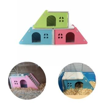 17x9x8.5cm Cartoon Hamster Toy Nest Small Animal Wood House Bed Cage Nest Pet Hedgehog Castle Toy Pet House XLZ9145 1
