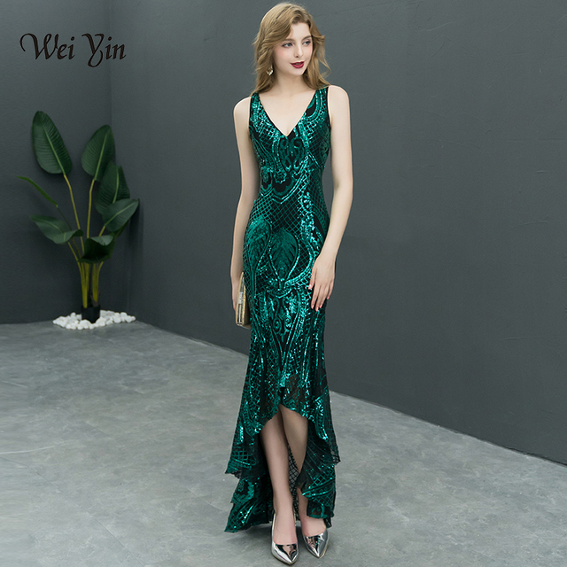 weiyin Luxury Long Evening Dress Sequin Mermaid Evening Gown Deep V Green  Formal Prom Dresses Robe De Soiree Longue WY760 87baf272806a