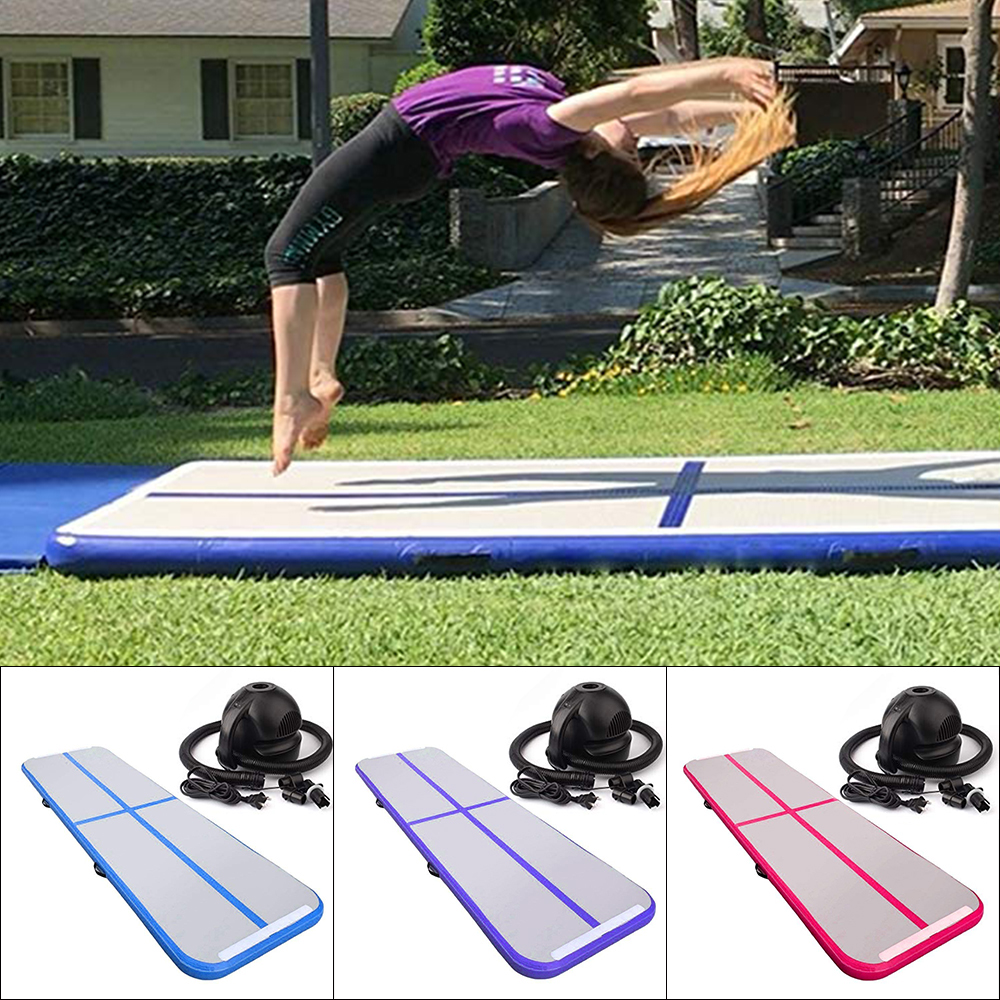 Home Use Gymnastic Inflatable Mattress Portable AirTrack Tumbling Air Track Floor Trampoline Taekwondo with Electric Air Pump цена