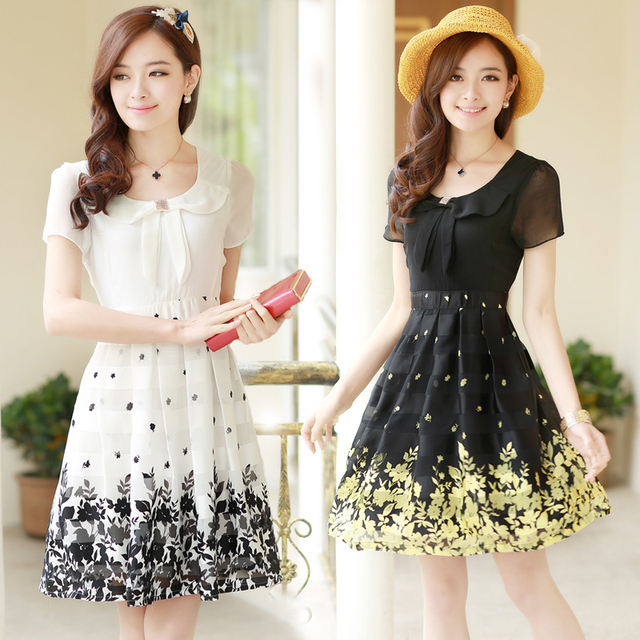 08f09ae517 M-5XL free shipping plus size women clothing summer dress 2016Chiffon flower  printed women dress slim fit Korean alibaba express