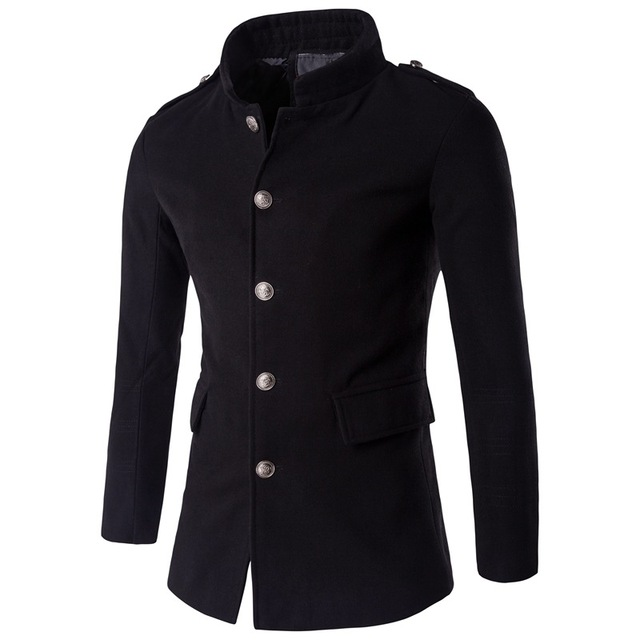 Los Hombres de Cuello de pie Gabardina 2016 Brand New Single Breasted Chaquetón Mens Ocasional Con Estilo Slim Fit Abrigo Manteau Homme negro