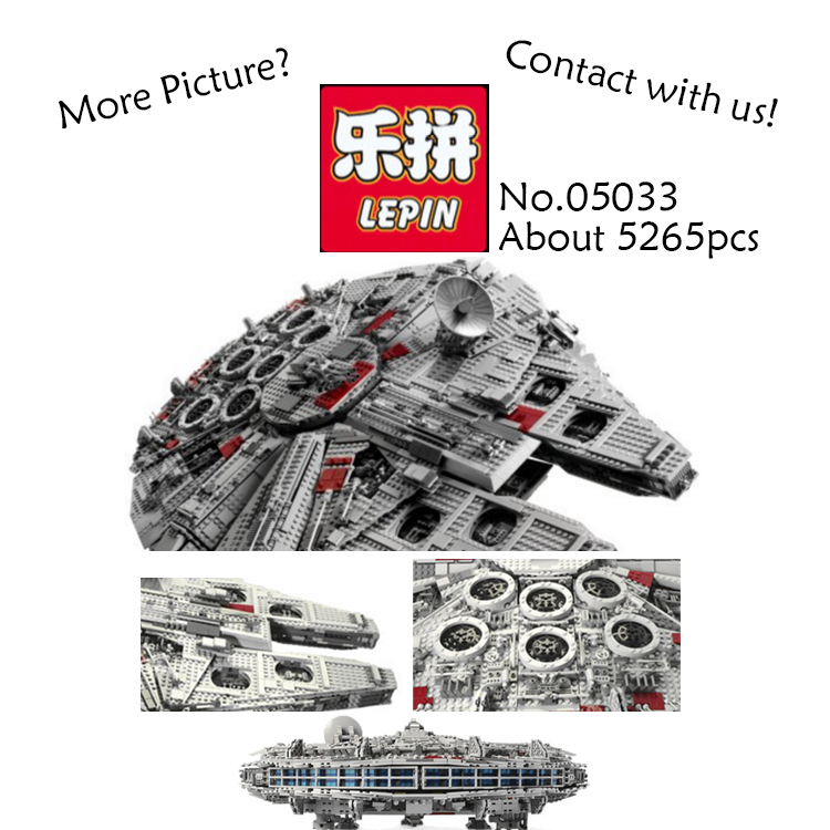 LEPIN 05033 5265pcs Star Wars Ultimate Collector's Millennium Falcon Model Building Kit Blocks Bricks fun Toys Compatible 10179 lepin 05033 wars 5265pcs star ultimate 10179 collector s millennium toys falcon model building kit blocks bricks children toy