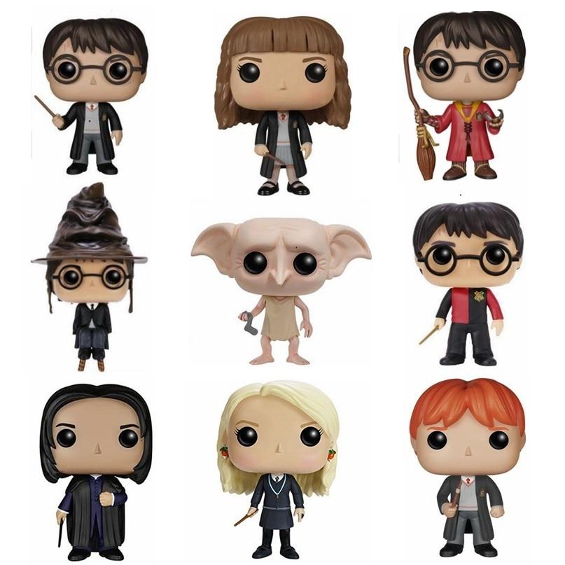 Harri Potter Pop Figure Toy Quidditch Magic Hat Dobby Ron Luna Snap Hermione Weasley Action Figure Vinyl Toy With Original Box