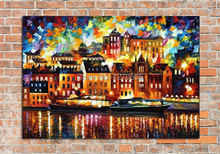 100%Handpainted Abstract Luminous City Knife Oil Painting On Canvas Thick Oil Painting For Home Decor As Best Gift