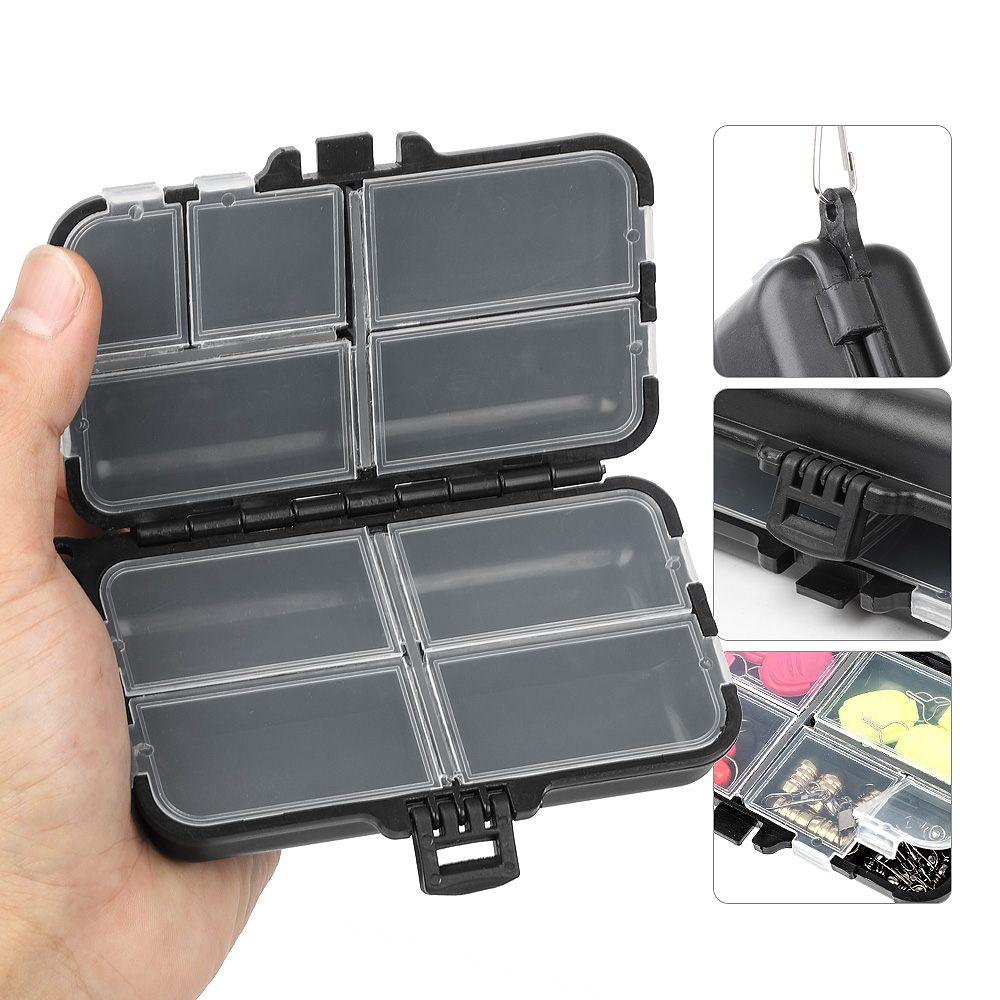 DONQL Fishing Box For Baits 7/9/10/12 Compartments Storage Lure Spoon Hook Small Plastic Tackle Box For Fishing Accessories