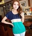 2014 o-cuello más el tamaño camisa color block decoración camisa floja de la gasa de manga corta mujeres de moda de verano tops para las mujeres WC0267