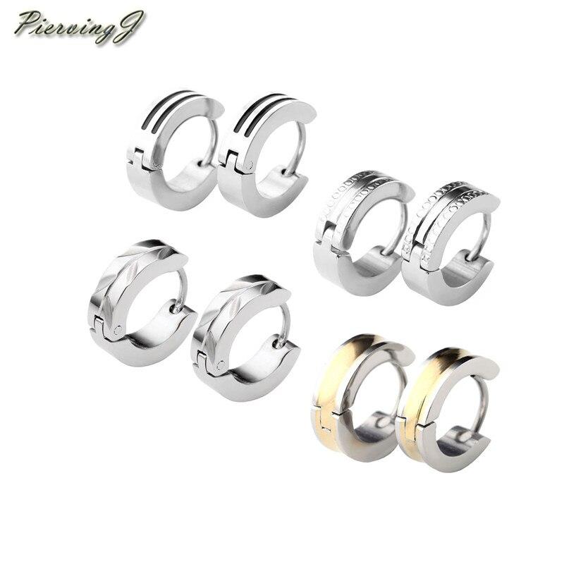 PiercingJ 2018 Brand New 8pcs Mens Stainless Steel Fashionable Multi-style Set Luxury Hinge Snap Huggie Stud Earrings Jewelry