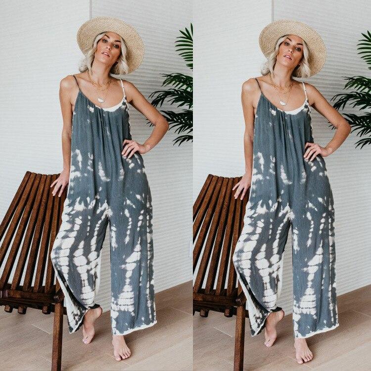 Boho Casual Jumpsuit Spaghetti Strap Sleeveless Combinaison Femme Overalls Women Monos Largos Mujer Pantalon Largo 2019 Casual