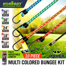 HORUSDY 10pcs Strong Elastic Rope Strap Tie Down Belt Cargo Luggage Lashing Straps Fix For Motorcycle Car Roof Outdoor Camping