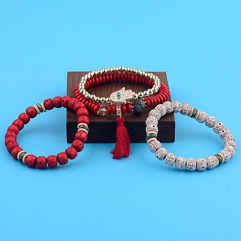 OIQUEI Vintage 4Pcs/Lot Women Bracelets Set Bohemia Charm CZ Hand Natural Stone Beads Tassel Pendents Bracelets Pour Les Femmes 5