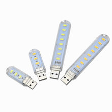 Mini portable USB Night light 3leds 8leds 5730 SMD Desk Book Reading lights 5V For PC Laptops Computer Mobile Power Camping lamp(China)