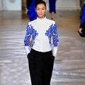 Alta Calidad 2016 Otoño Nueva Moda de la Pista de Dos Colores Bordado Camisa Casual Temperamento Sencillo Vestido De Las Mujeres