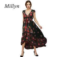 Millyn 2017 new hot selling spring Bohemia style chiffon short sleeve Vintage Dresses Women Floral print Dress S-XXL