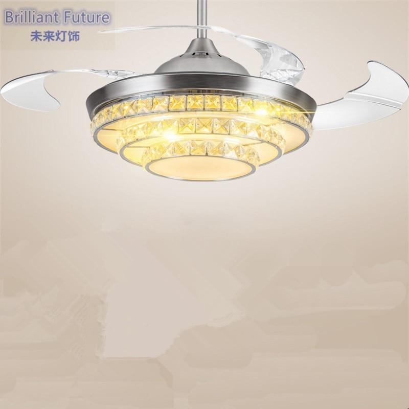 36/42 inch 92/108 cm contrôle de gradation K9 cristal ventilateur de plafond moderne/contemporain salon ventilateur LED lumières chambre 110-240 v