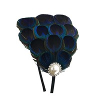 1PC Chic Vintage Ladies Bride Faux Peacock Feather Rhinestone Hair Hoop Hair Band Wedding Party Accessory
