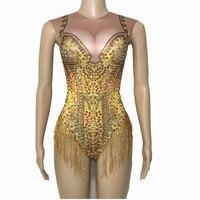 Sparkly Gold Tassel Rhinestones Bodysuit Performance Stage Dance Wear Sexy Nightclub Prom Dancing Costume One Piece