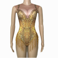 Sparkly Gold Tassel Rhinestones Bodysuit Performance Stage Dance Wear Sexy Nightclub Prom Dancing Costume One Piece
