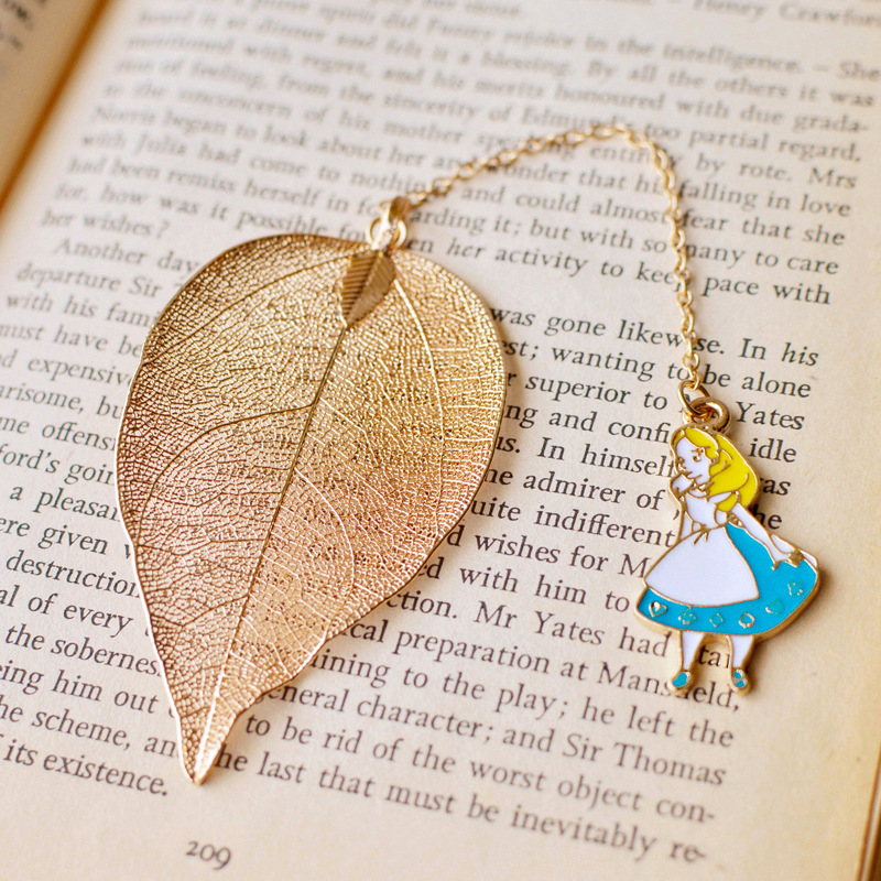 Cute Cartoon Alice Rabbit Clock Design Bookmarks Leaves Metal Bookmarks Children Student Stationery Gift School Office Supplies