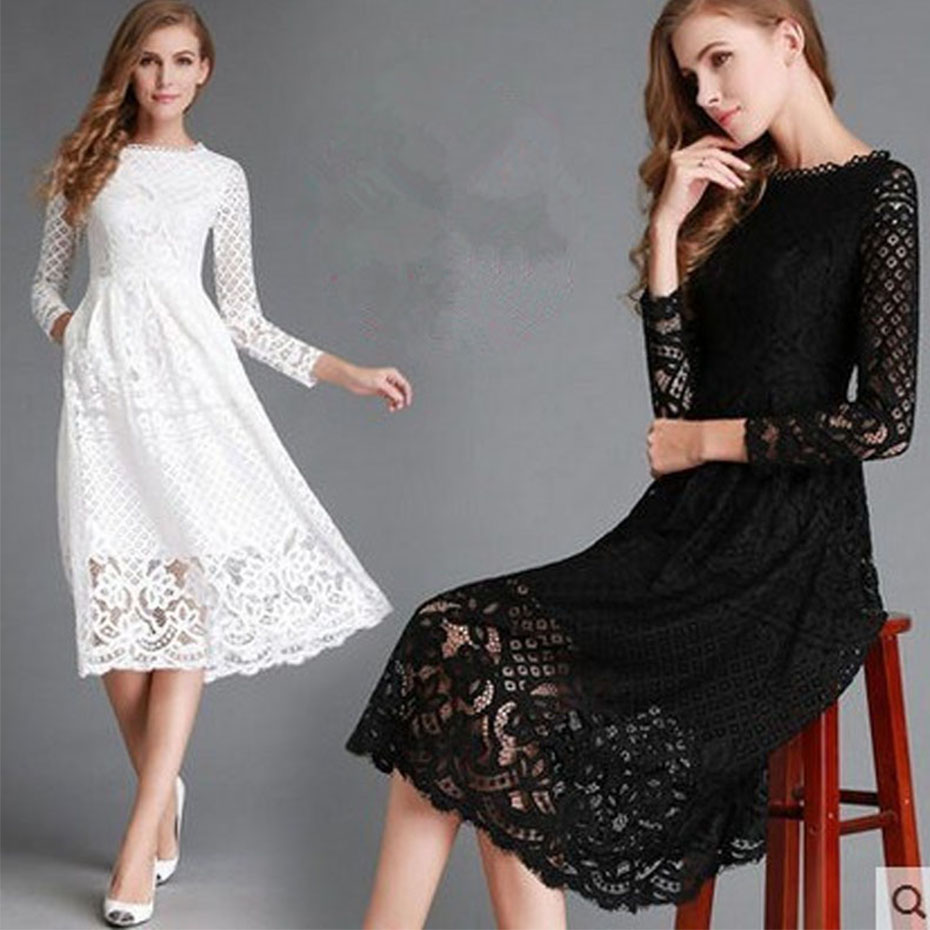 Winter Autumn Casual Plus size 2017 Dress Woman Long Sleeve Vestidos Elegant White Lace Elegant Party Retro for Women Clothes