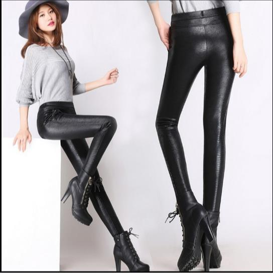 f3f702ce86e 2018 Winter warm women faux leather pants   capris high waist PU Snakeskin  elastic stretch Plus size pencil pants female Z778-in Pants   Capris from  Women s ...