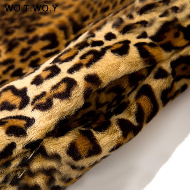 WOTWOY Thicken Leopard Women Jacket Mid-Long Faux Fur Coat Women Slim Casual Luipaard Fur Jackets Female Harajuku 2020