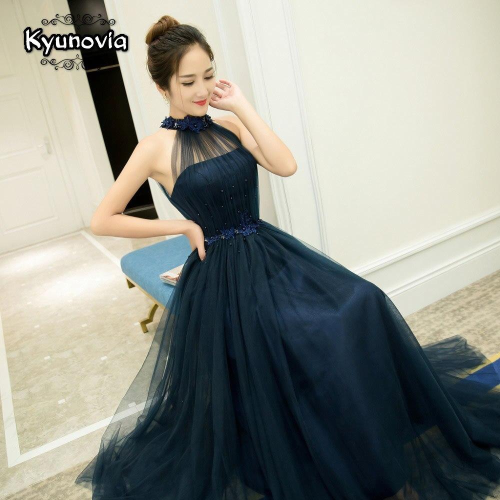 Robe longue dos nu perlée longue robe de bal bleu Champagne sans manches robe de soirée Appliques à lacets robes de bal FD28