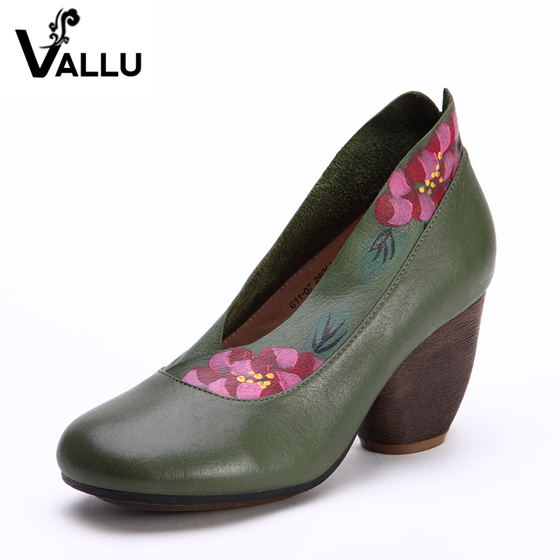 High Heel Shoes Woman 2017 Summer Genuine Leather Women Pumps Chunky Heels Slip-on Round Toes Flower Women's Shoes портативная колонка polk audio boom swimmer jr grey mint