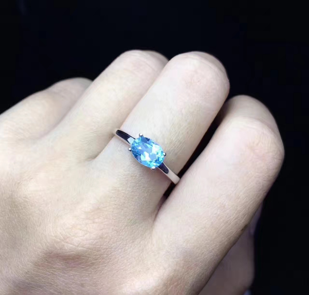 Natural pink topaz gem Ring Natural blue topaz ring 925 sterling silver Stylish elegant simple round women girl party Jewelry
