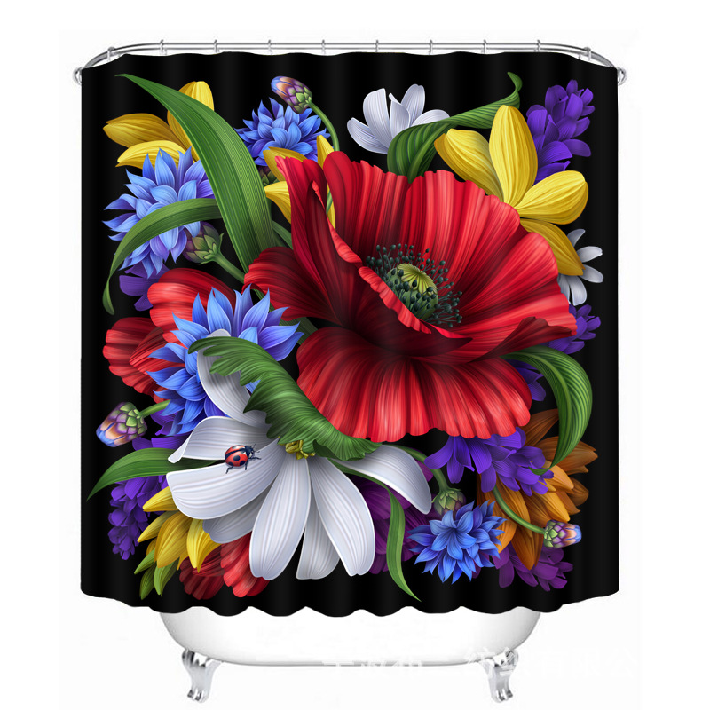 Pretty Peacock Butterfly Pattern Polyester Fabric Waterproof Shower Curtain Eco Friendly Bathroom Curtain Home in Shower Curtains from Home Garden
