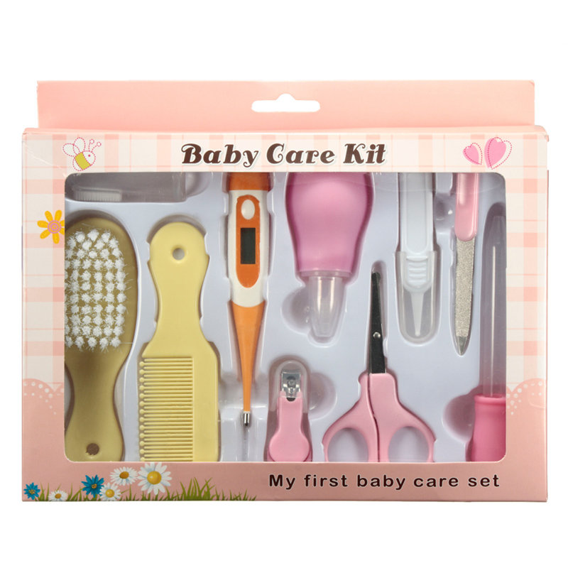 10pcs Infant Newborn Baby Kids Nail Hair Health Care Set Thermometer Grooming Brush Manicure Kit Daily Nurse Tool