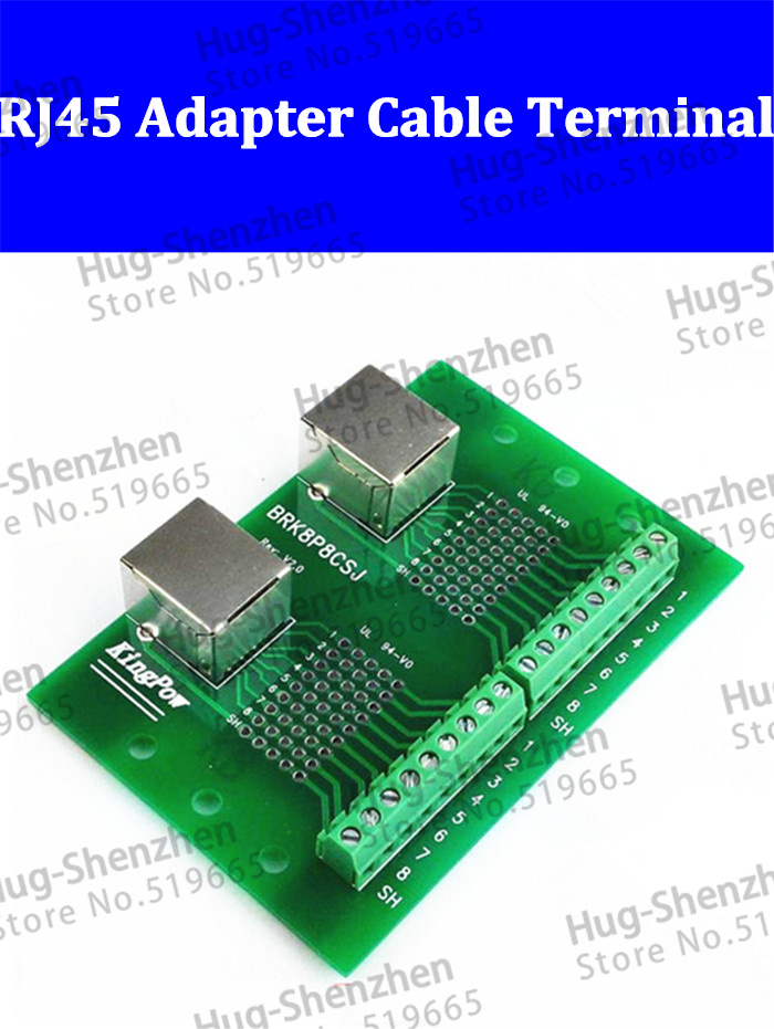 High quality BRK8P8CSJ  Dual-port input transit RJ45 adapter Breakout board, Ethernet port switch terminals without PCB holder 660v ui 10a ith 8 terminals rotary cam universal changeover combination switch