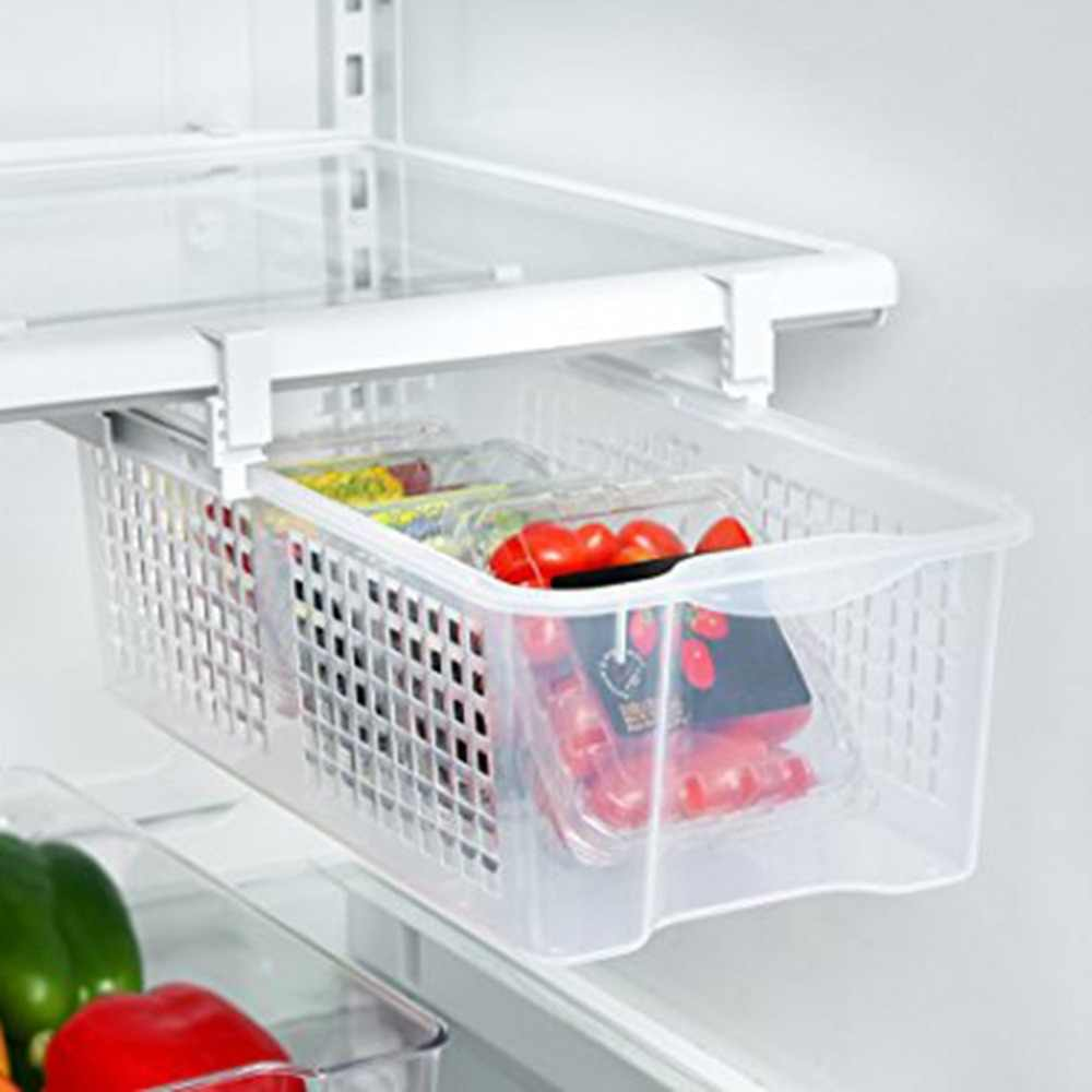 Large Bearings Plastic Refrigerator Pull Out Bin Snap On Drawer Household Use Easy To Install Refrigerator Storage Box