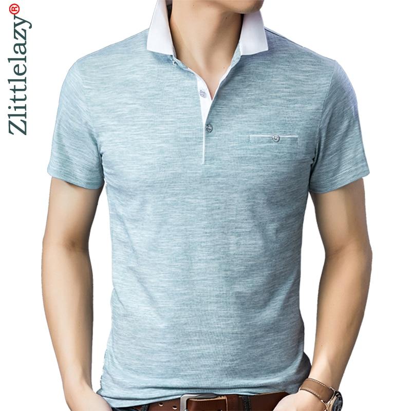 2019 brand casual summer solid short sleeve   polo   shirt men poloshirt jersey pocket mens   polos   tee shirts dress fashions 201903