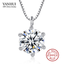 Promotion!!! Positive Jewellery Hearts and Arrows 8mm 2 Carat CZ Diamond Pendant Necklace 925 Sterling Silver Necklace Ladies BKN001