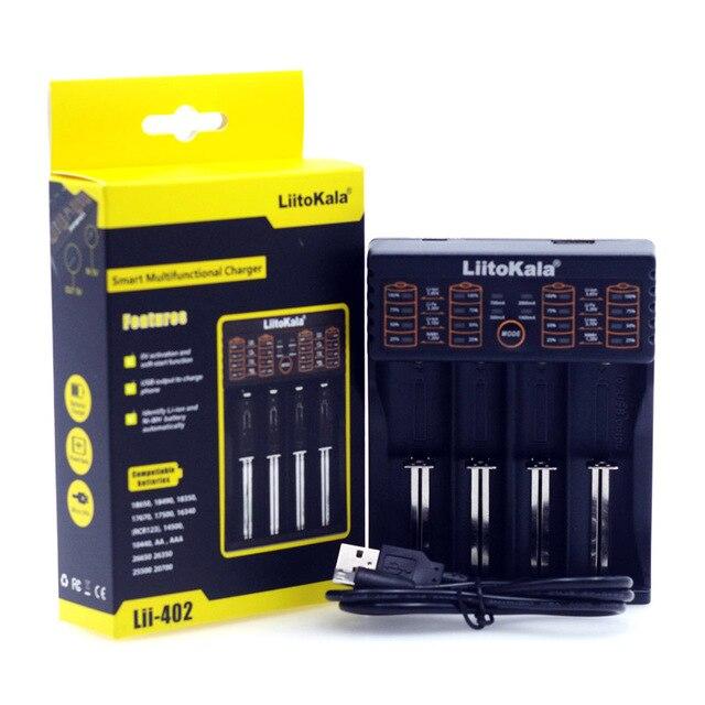 Liitokala Lii402 Lii202 Lii100 LiiS1 18650 Charger 1.2V 3.7V 3.2V AA/AAA 26650 NiMH li-ion battery Smart Charger 5V 2A EU Plug 4