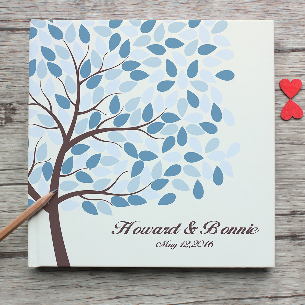 Unique Custom White Wedding Guest Book,Personalized Tree Leaves Love Deer White Wedding Guest Book Alternatives Sign,Photo Album